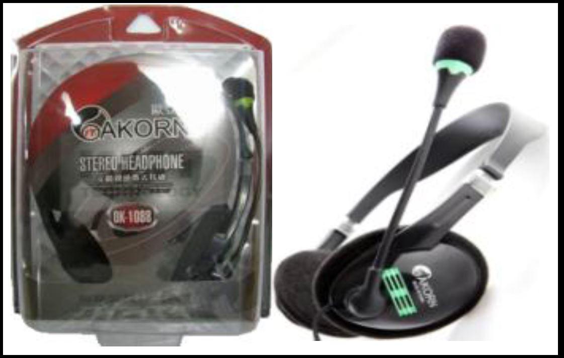 OK-1088 סט אוזניות+מיקרופון.