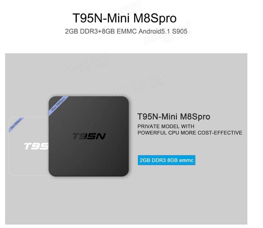 T95N Mini M8S Pro Amlogic S905 1GB/8GB Android 6.0  4K יבואן רשמי