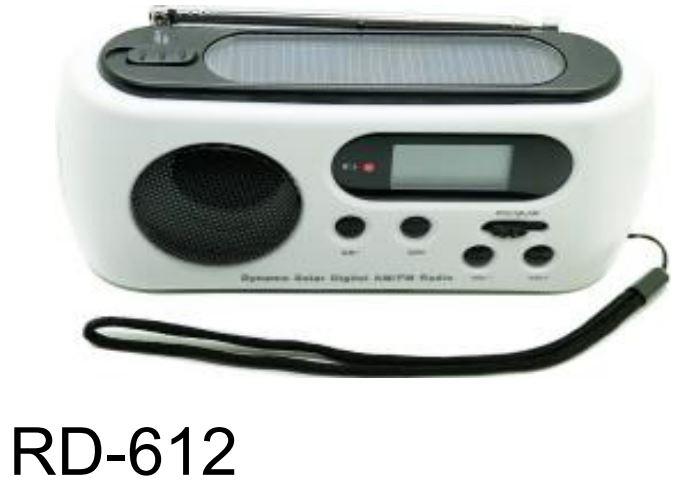רדיו נטען באמצעות פנל סולארי או דינמו RD-612