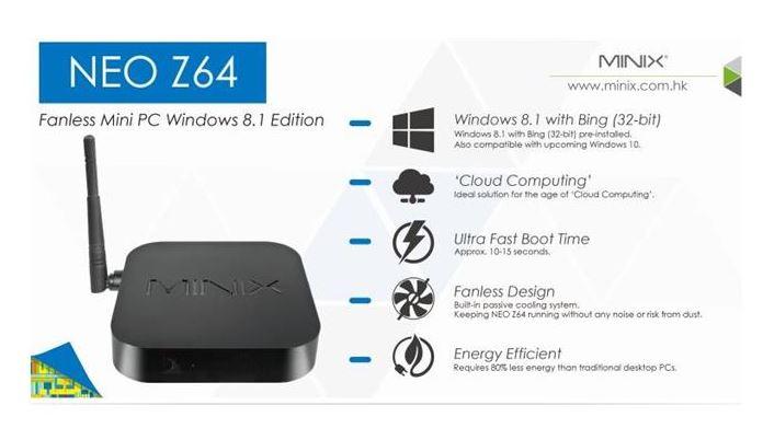 סטרימר MINIX NEO Z64 Win 8.1  קופסת טלויזיה חכמה + שלט