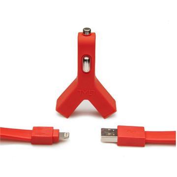 מטען USB כפול לרכב 2.1 אמפר+כבל לאייפון 5 TYLT