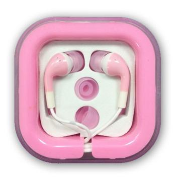 אוזניות סיליקון כפתור - ורוד