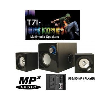 מערכת רמקולים 2.1 למחשב X-TECH 2.1 SP2100D עץ +נגן MP3 USB/SD