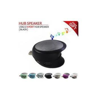 USB2.0 4 port hub speaker-silver- מפצל USB + רמקול