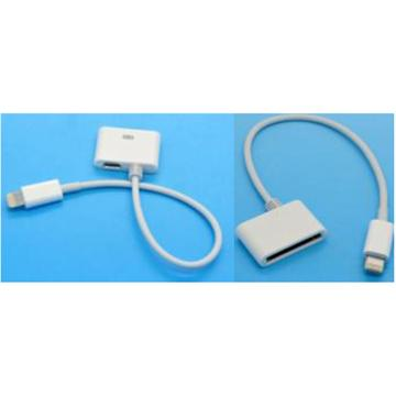 2 IN 1 (30pin & misro usb to 8 pin cable adapter white) מתאם חיבור של אייפון 4/Micro USB לאייפון 5