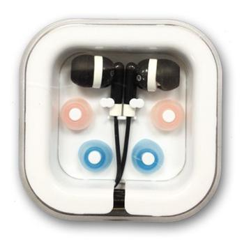אוזניות סיליקון כפתור - שחור/לבן