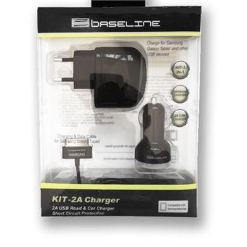 מטען משולב קיר לחשמל+רכב 2.1 אמפר לטאבלט BASELINE