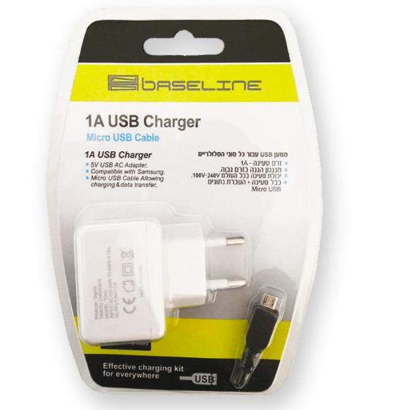 מטען USB לחשמל 1 אמפר+כבל לגלקסי\מיקרו BASELINE