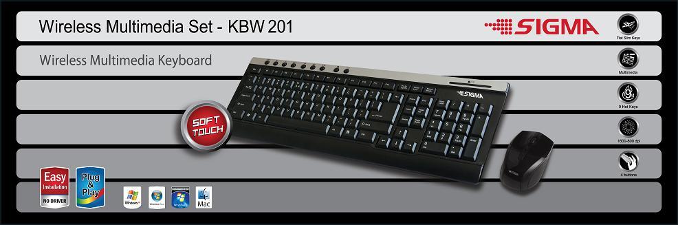 סט מולטימדיה עכבר + מקלדת אלחוטי מדגם KBW-201 מבית SIGMA