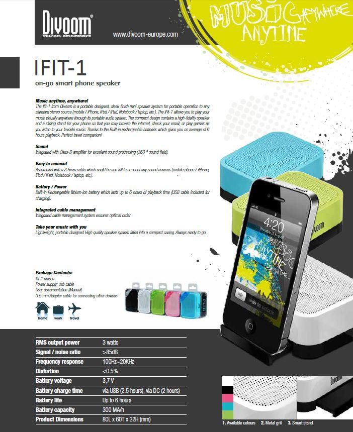 רמקול נייד DIVOOM-IFIT-1