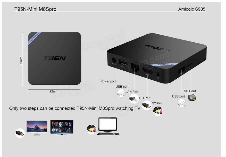T95N Mini M8S Pro Amlogic S905 2GB/16GB Android 6.0  4K יבואן רשמי