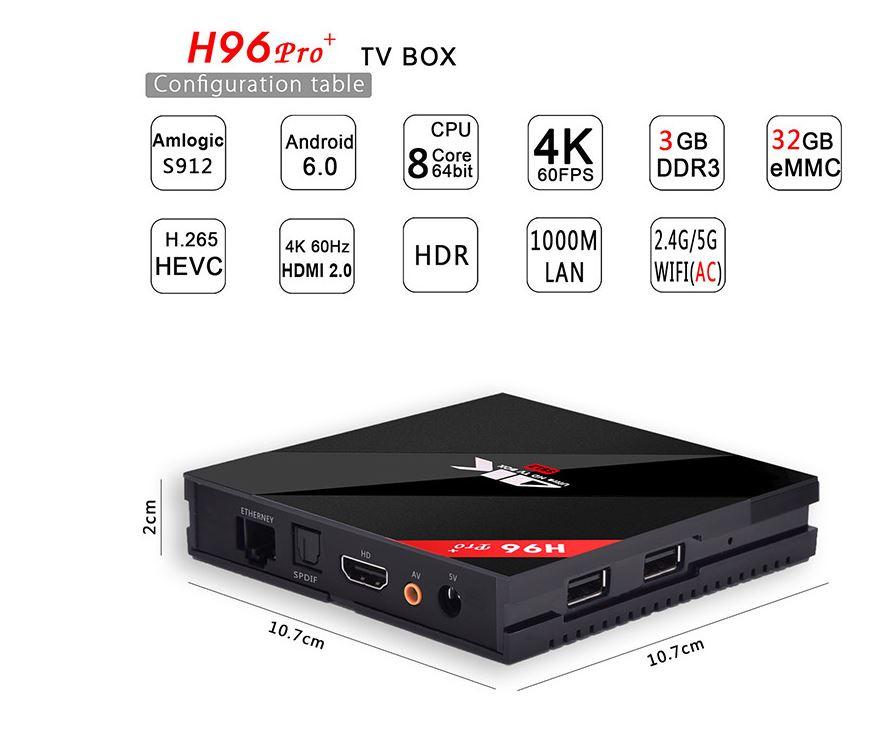 סטרימר NPET H96 PRO Amlogic S912 Octa core Android 6.0 TV Box 3G/32G  יבואן רשמי