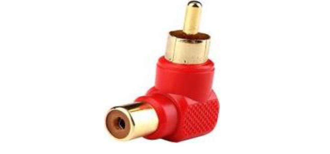 Adaptor 90 Degree RCA male to RCA female מפצל (מתאם)RCA (PL3.5) זכר לRCA נקבה. 90 מעלות.