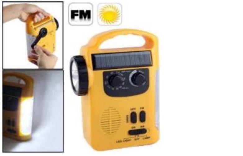 רדיו נטען באמצעות פנל סולארי או דינמו