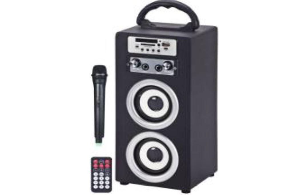 בידורית  - Speaker Karaoke רמקול נייד המשולב עם מיקרופון חוטי לקריוקי