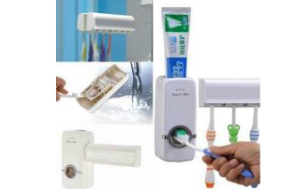 Automatic Auto Toothpaste Dispenser +5 Toothbrush Holder Set Wall Mount