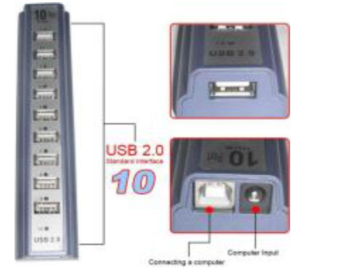 HUB USB x10 - מפצל USB 2.0 עם 10 כניסות