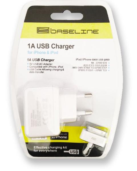 מטען USB לחשמל 1 אמפר+כבל לאייפון 4 BASELINE