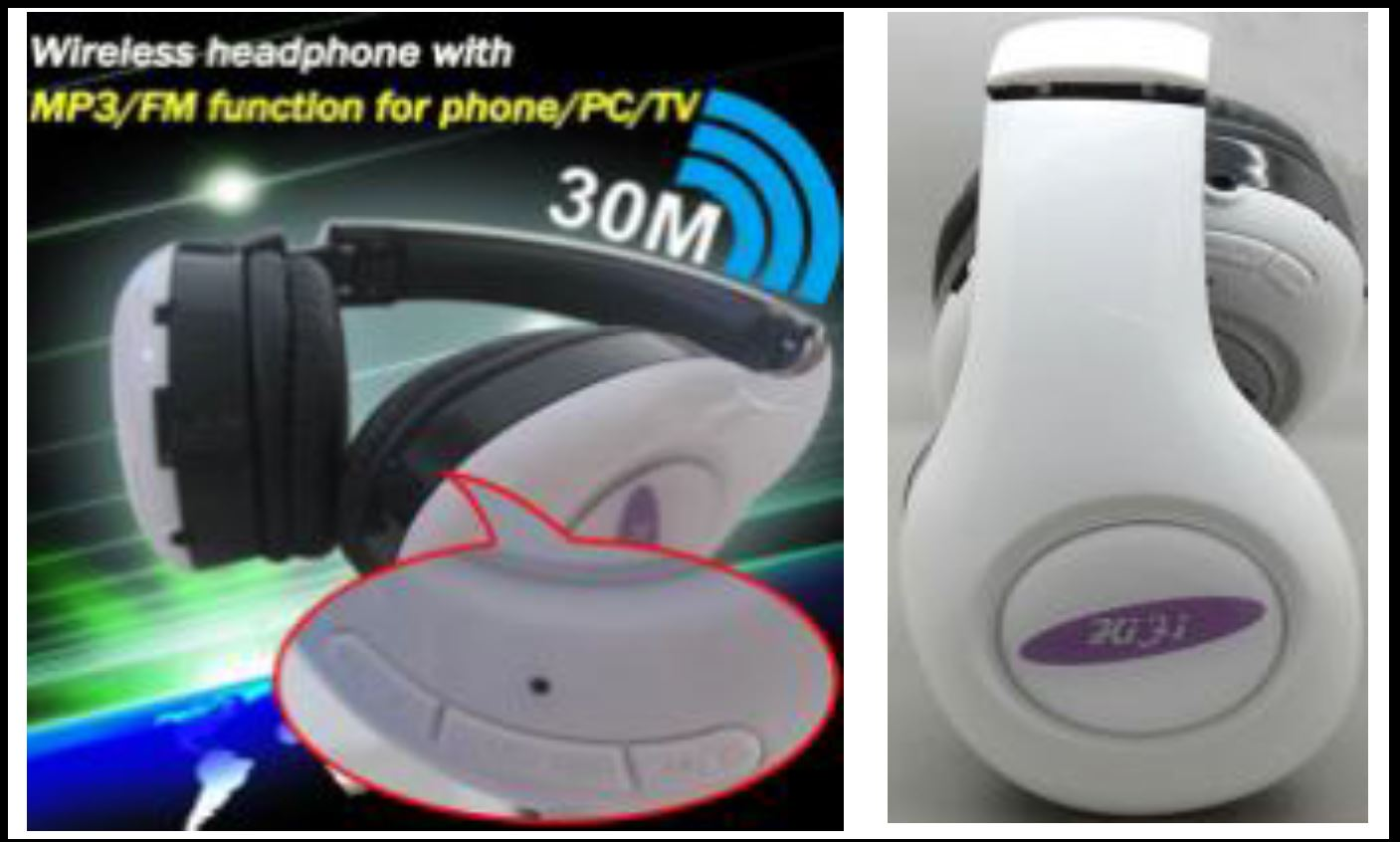 Wireless headphone with MP3/FM function for TV/tablet/mobile phone /PC